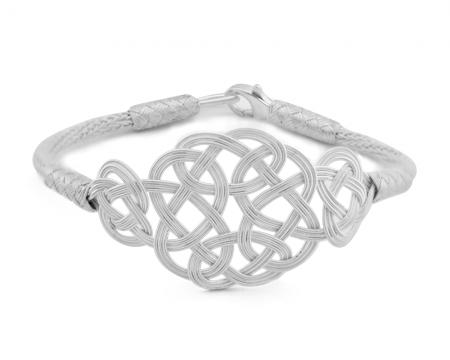 Tesbihane - 1000 Ayar Gümüş Beyaz Kazaz El Örmesi Bileklik