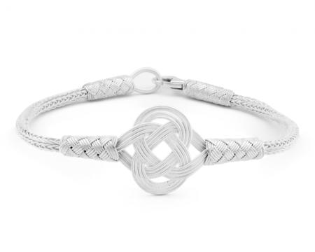 Tesbihane - 1000 Ayar Gümüş Beyaz Zarif Kazaz El Örmesi Bileklik