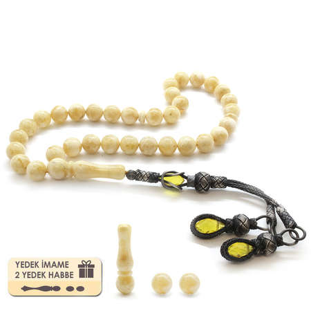 Tesbihane - 1000 Ayar Gümüş Çift Kazaz Püsküllü Küre Kesim Sarı Damla Kehribar Tesbih
