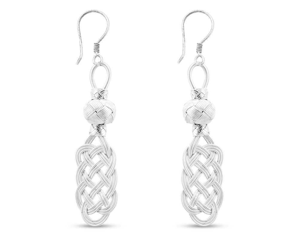 1000 Ayar Gümüş Kazaz El Örmesi Küpe (Model-2)