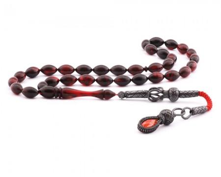 Tesbihane - 1000 Ayar Gümüş Kazaz Püskül Kırmızı Sıkma Kehribar Tesbih