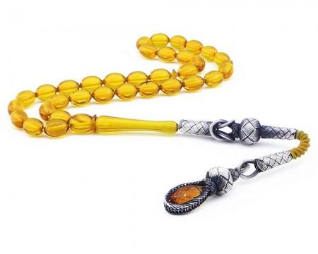 Tesbihane - 1000 Ayar Gümüş Kazaz Püsküllü Arpa Kesim Sarı Sıkma Kehribar Tesbih