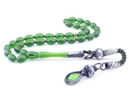 Tesbihane - 1000 Ayar Gümüş Kazaz Püsküllü Arpa Kesim Yeşil Sıkma Kehribar Tesbih