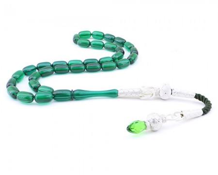 - 1000 Ayar Gümüş Kazaz Püsküllü Kapsül Kesim Sıkma Yeşil Kehribar Tesbih (özel İşçilik)