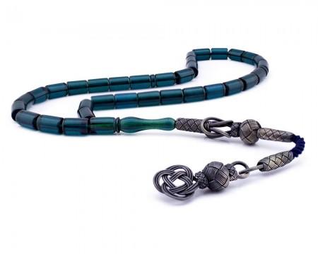 Tesbihane - 1000 Ayar Gümüş Kazaz Püsküllü Kesme Model Mavi Sıkma Kehribar Tesbih