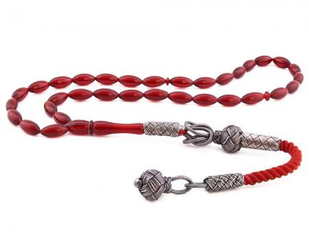 Tesbihane - 1000 Ayar Gümüş Kazaz Püsküllü Kırmızı Sıkma Kehribar