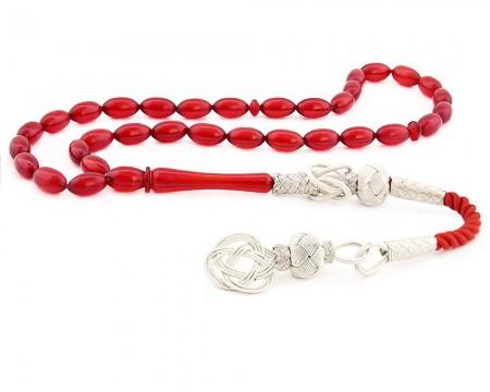 Tesbihane - 1000 Ayar Gümüş Kazaz Püsküllü Kırmızı Sıkma Kehribar Tesbih
