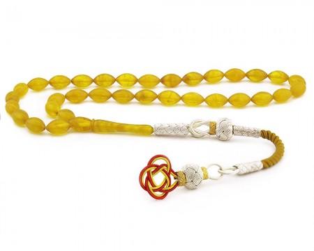 Tesbihane - 1000 Ayar Gümüş Kazaz Püsküllü Sarı Sıkma Kehribar Tesbih (Model 1)