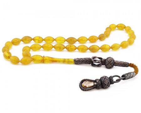 Tesbihane - 1000 Ayar Gümüş Kazaz Püsküllü Sarı Sıkma Kehribar Tesbih (Model 2)