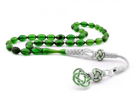 Tesbihane - 1000 Ayar Gümüş Kazaz Püsküllü Yeşil Renk Sıkma Kehribar Tesbih