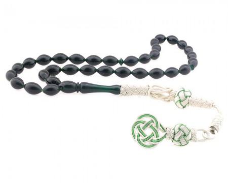 Tesbihane - 1000 Ayar Gümüş Kazaz Püsküllü Yeşil Sıkma Kehribar Tesbih 2