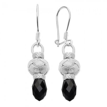 Tesbihane - 1000 Ayar Gümüş Kazaz Siyah Taşlı Küpe