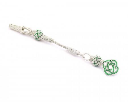Tesbihane - Yeşil-Beyaz Renk 1000 Ayar Gümüş Kazaz Püskül