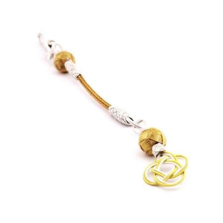 Tesbihane - Gold-Beyaz Renk 1000 Ayar Gümüş Kazaz Püskül