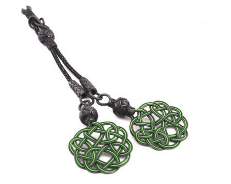 Tesbihane - Yeşil-Eskitme Renk 1000 Ayar Gümüş Kazaz Püskül