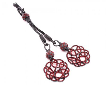 Tesbihane - Gri-Kırmızı Renk 2'li 1000 Ayar Gümüş Kazaz Püskül