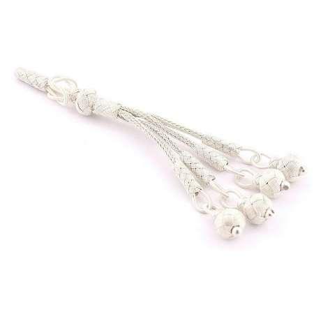 Tesbihane - Beyaz Renk 4′lü 1000 Ayar Gümüş Top Kazaz Püskül
