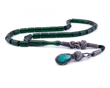 Tesbihane - 1000 Ayar Gümüş Kazaziye Püsküllü Kapsül Kesim Yeşil Renk Sıkma Kehribar Tesbih