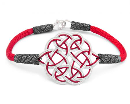 - 1000 Ayar Gümüş Kırmızı Kazaz El Örmesi Bileklik