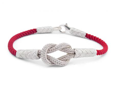 Tesbihane - 1000 Ayar Gümüş Kırmızı Zarif Kazaz El Örmesi Bileklik