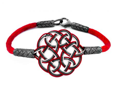 Tesbihane - 1000 Ayar Gümüş Kırmzı 3 Renk Kazaz El Örmesi Bileklik