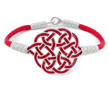 Tesbihane - 1000 Ayar Gümüş Kırmzı Beyaz Kazaz El Örmesi Bileklik