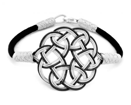 - 1000 Ayar Gümüş Siyah Kazaz El Örmesi Bileklik