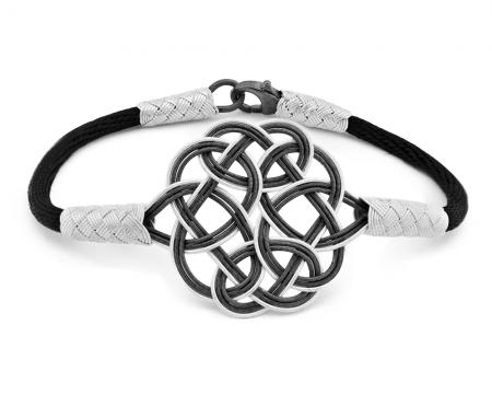 Tesbihane - 1000 Ayar Gümüş Siyah Kazaz El Örmesi Bileklik (model 2)