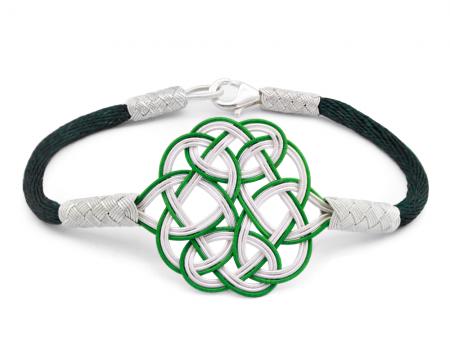 Tesbihane - 1000 Ayar Gümüş Yeşil Beyaz Kazaz El Örmesi Bileklik
