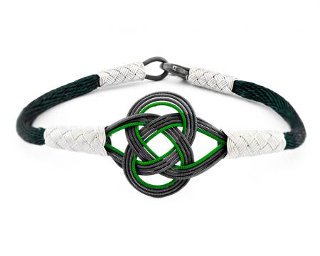 - 1000 Ayar Gümüş Yeşil Kazaz El Örmesi Bileklik
