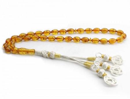 - 1000 Ayar Gümüşlü Orjinal Kehribar Tesbih (Arpa Kesim)