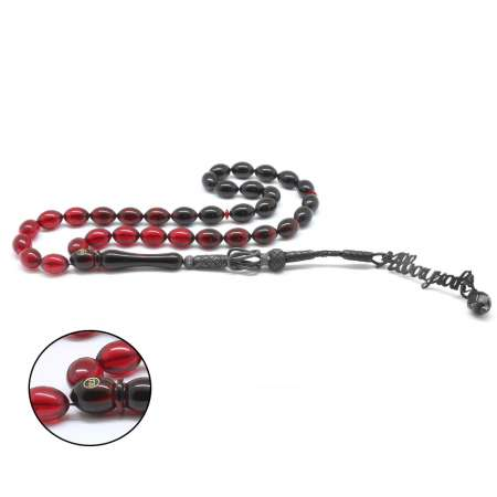 Tesbihane - 1000 Ayar Gümüş Kazaz Püsküllü İsim Yazılı Kırmızı Ateş Kehribar Tesbih