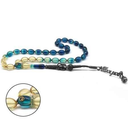Tesbihane - 1000 Ayar Gümüş Kazaz Püsküllü Arpa Kesim İsim Yazılı Mavi Ateş Kehribar Tesbih