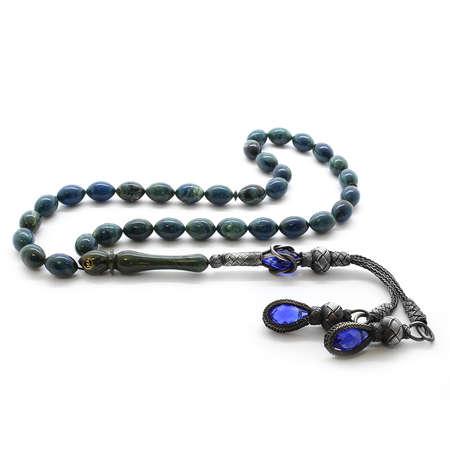 Tesbihane - 1000 Ayar Gümüş Kazaz Püskül Arpa Kesim Yoğun Hareli Mavi Sıkma Kehribar Tesbih
