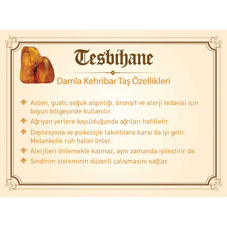 1000 Ayar Gümüş Kazaz Püsküllü Damla Kehribar Tesbih (Model-6) - Thumbnail
