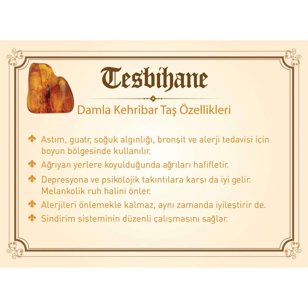 1000 Ayar Gümüş Kazaz Püsküllü Damla Kehribar Tesbih (Model-6)