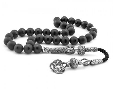 Tesbihane - 1000 Ayar Gümüş Kazaz Püsküllü Küre Kesim Siyah Oniks Doğaltaşlı Tesbih