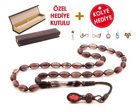 1000 Ayar Kazaz Püsküllü Özel Hediye Kutulu Tesbih (Model-6) - Thumbnail