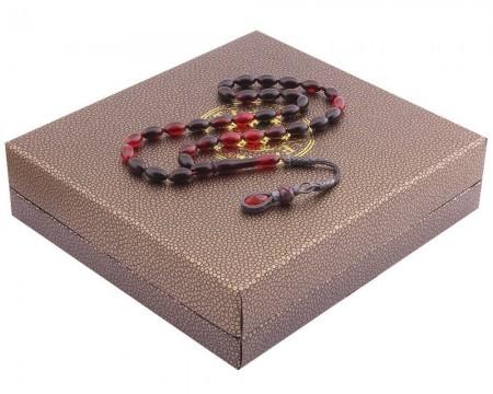 1000 Ayar Kazaz Püsküllü Özel Kutulu Kırmızı-Siyah Renk Sıkma Kehribar Tesbih - Thumbnail