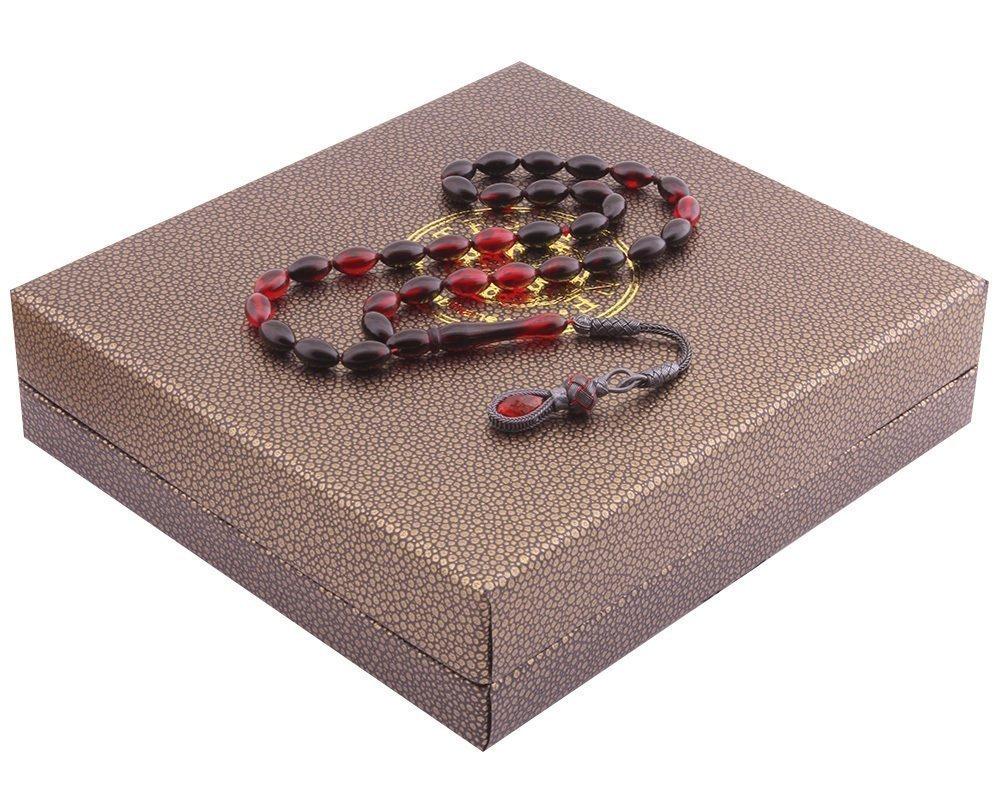 1000 Ayar Kazaz Püsküllü Özel Kutulu Kırmızı-Siyah Renk Sıkma Kehribar Tesbih