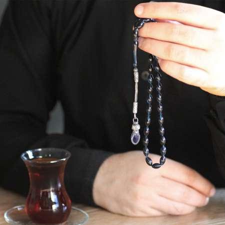1000 Ayar Kazaz Püsküllü Arpa Kesim Lacivert Sıkma Kehribar Tesbih - Thumbnail
