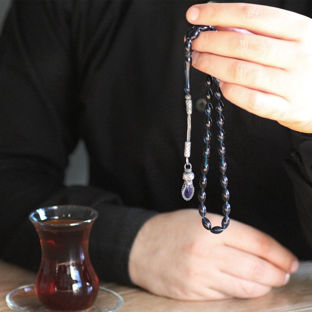 1000 Ayar Kazaz Püsküllü Arpa Kesim Lacivert Sıkma Kehribar Tesbih