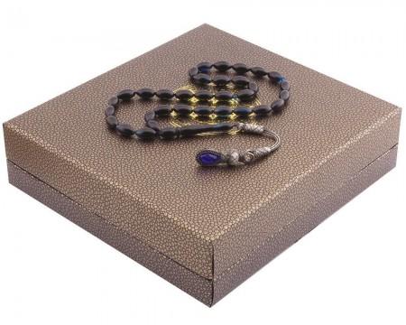 Tesbihane - 1000 Ayar Kazaz Püsküllü Özel Kutulu Lacivert Renk Sıkma Kehribar Tesbih (1)