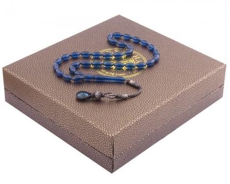 Tesbihane - 1000 Ayar Kazaz Püsküllü Arpa Kesim Mavi Sıkma Kehribar Tesbih