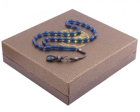 Tesbihane - 1000 Ayar Kazaz Püsküllü Özel Kutulu Parlement Mavi Renk Sıkma Kehribar Tesbih