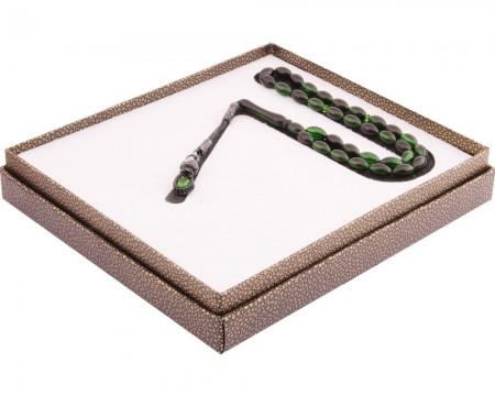 Tesbihane - 1000 Ayar Kazaz Püsküllü Arpa Kesim Yeşil-Siyah Sıkma Kehribar Tesbih