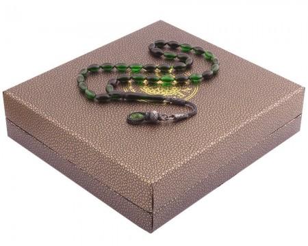 Tesbihane - 1000 Ayar Kazaz Püsküllü Özel Kutulu Yeşil-Siyah Renk Sıkma Kehribar Tesbih