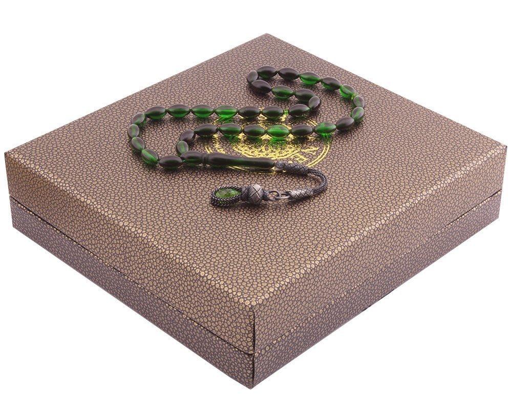 1000 Ayar Kazaz Püsküllü Özel Kutulu Yeşil-Siyah Renk Sıkma Kehribar Tesbih