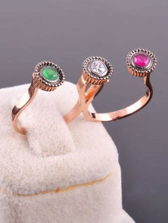 3 Taşlı İki Parmak Yüzüğü - Thumbnail