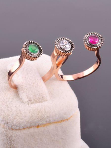 3 Taşlı İki Parmak Yüzüğü